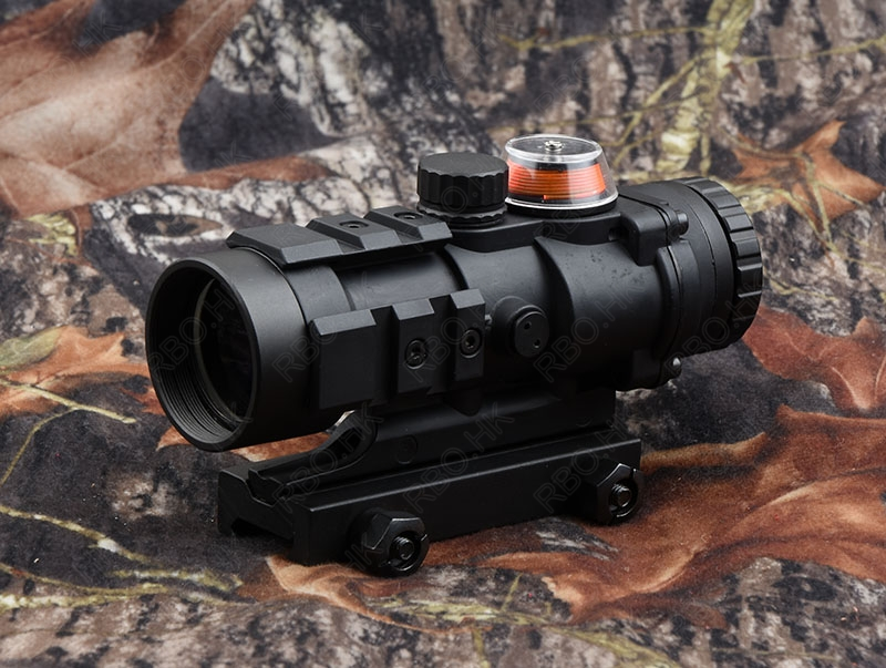 Tactical 3x32 Red Fiber Optics Prism Rifle Scope With 20mm Picatinny Rail Adapter Waterproof M5135