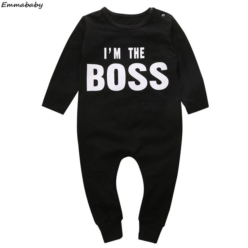 I'M THE BOSS/комбинезоны для новорожденных мальчиков и девочек; Хлопковые комбинезоны с длинными рукавами и надписью; Комбинезоны; Новая одежда ...