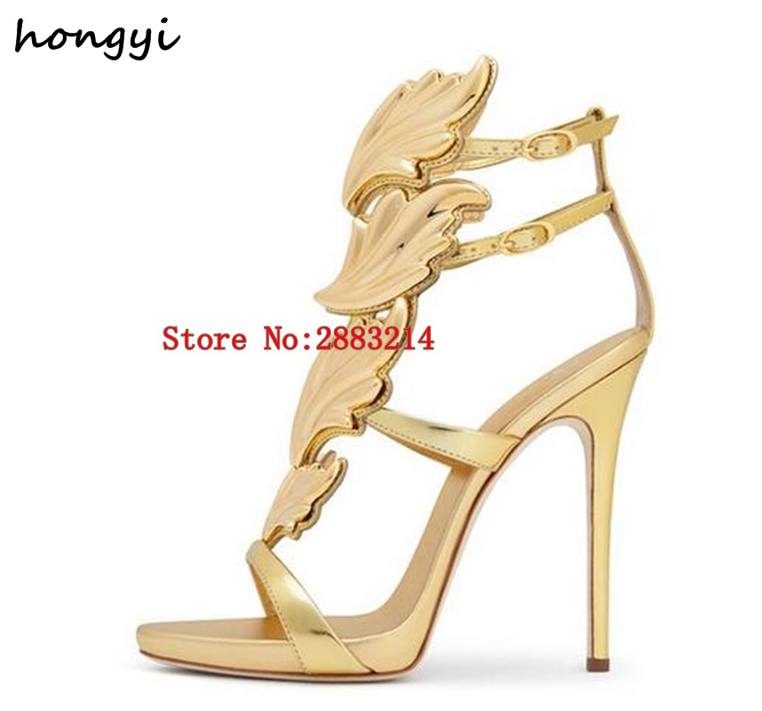 585da0bcaa90 Best-selling Trendy Lady Angel Wings Black Yellow High Heels Sandals  Gladiator Rome Women Leaf Leather Party Dress Pumps Shoes