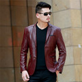 New 2016 Winter Mens Plus Size 4xl Leather Blazer Jacket Top Quality Fashion Slim Fit Wine Dress Blazers Men Busines Casual Suit