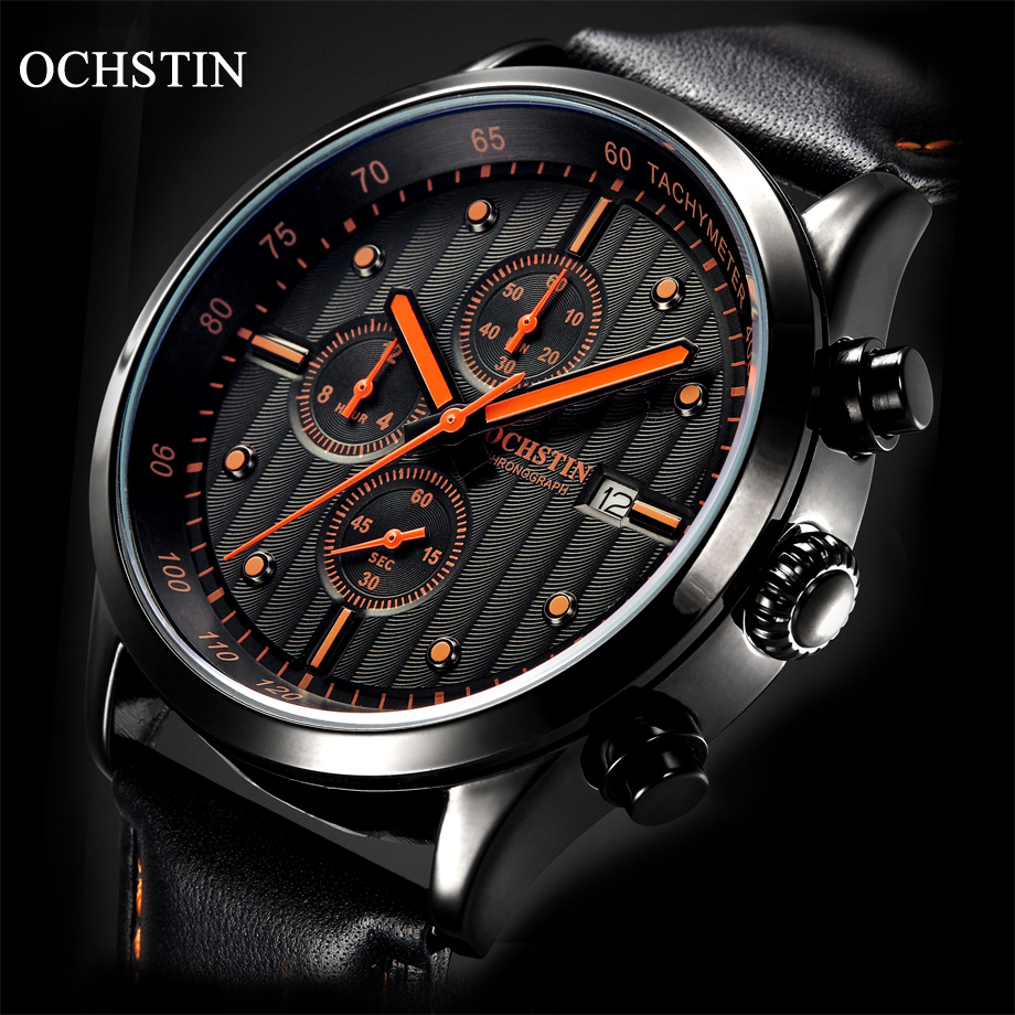 OCHSTIN JAPAN Movement Sport Watches Men Fashion High Quality Leather Strap Chronograph Quartz Watches Men 2017 Clock Hour feifan brand watches fashion sport watches for women new arrival 2016 high quality quartz watches japan movement case fp135