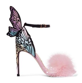Women Sandals Butterfly Wing Decor High Heel Woman Shoes Stiletto Brand Runway Star Shoes Fur Decor Colorful Shoes Wedding