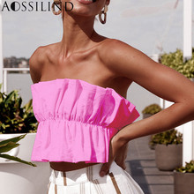 AOSSILIND Strapless Sexy Ruffles Crop Top Women Off Shoulder Backless Lace Up Short Tank Top Casual Bustiers 20190Summer Tops off shoulder lace up crop top
