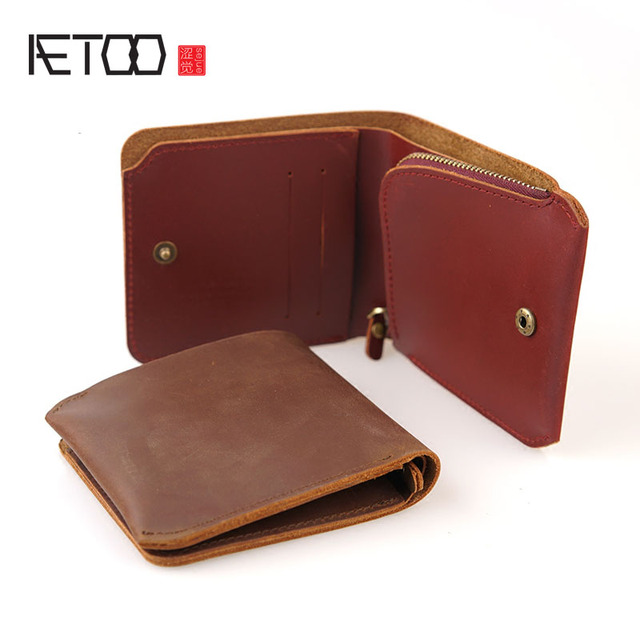 aetoo personal money money wallet retro handmade crazy horse leather
