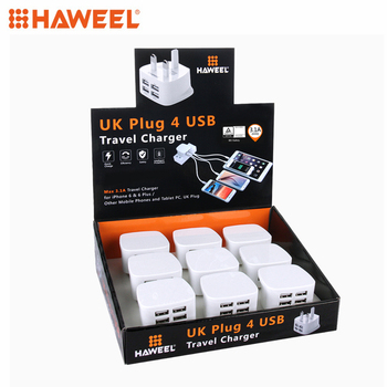 [BS Certification] 9 PCS UK Plug HAWEEL 4 USB Ports Max 3.1A Travel Charger Kits with Display Stand Box