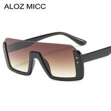 ALOZ MICC Semi-Rimless Sunglasses Women Brand Designer Vintage Rivet Oversized Square Sun Glasses For Men Oculos UV400 Q624