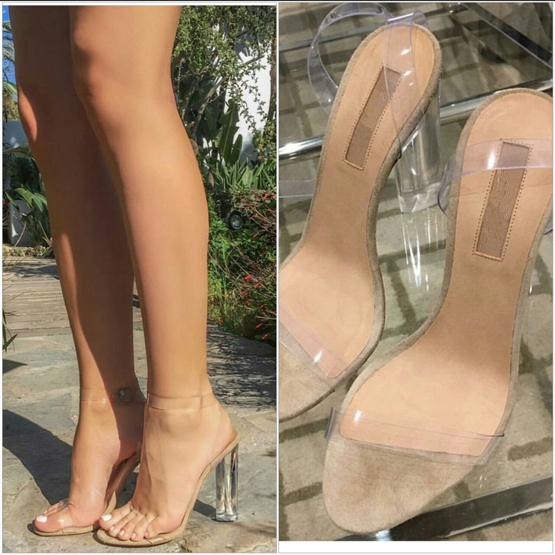PVC Clear Chunky High Heels 2016 Fashion Shoes Celebrity Wearing ...