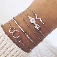 5 Pcs/Set Link Chain Heart Wave Wing Charm Bracelet Bangles for Women Handmade Round Infinity Symbol Shell Braclets Jewelry 2019