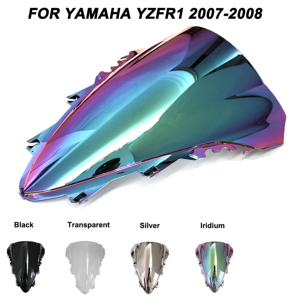 Motorcycle Motorbike Windshield Double Bubble Windscreen Wind Deflectors For Yamaha YZFR1 YZF R1 yzf r1 2007-2008 2007 2008 hot sales for yamaha r1 fairings yzfr1 2007 2008 yzf r1 yzf r1 yzf1000 r1 07 08 red black abs fairings injection molding