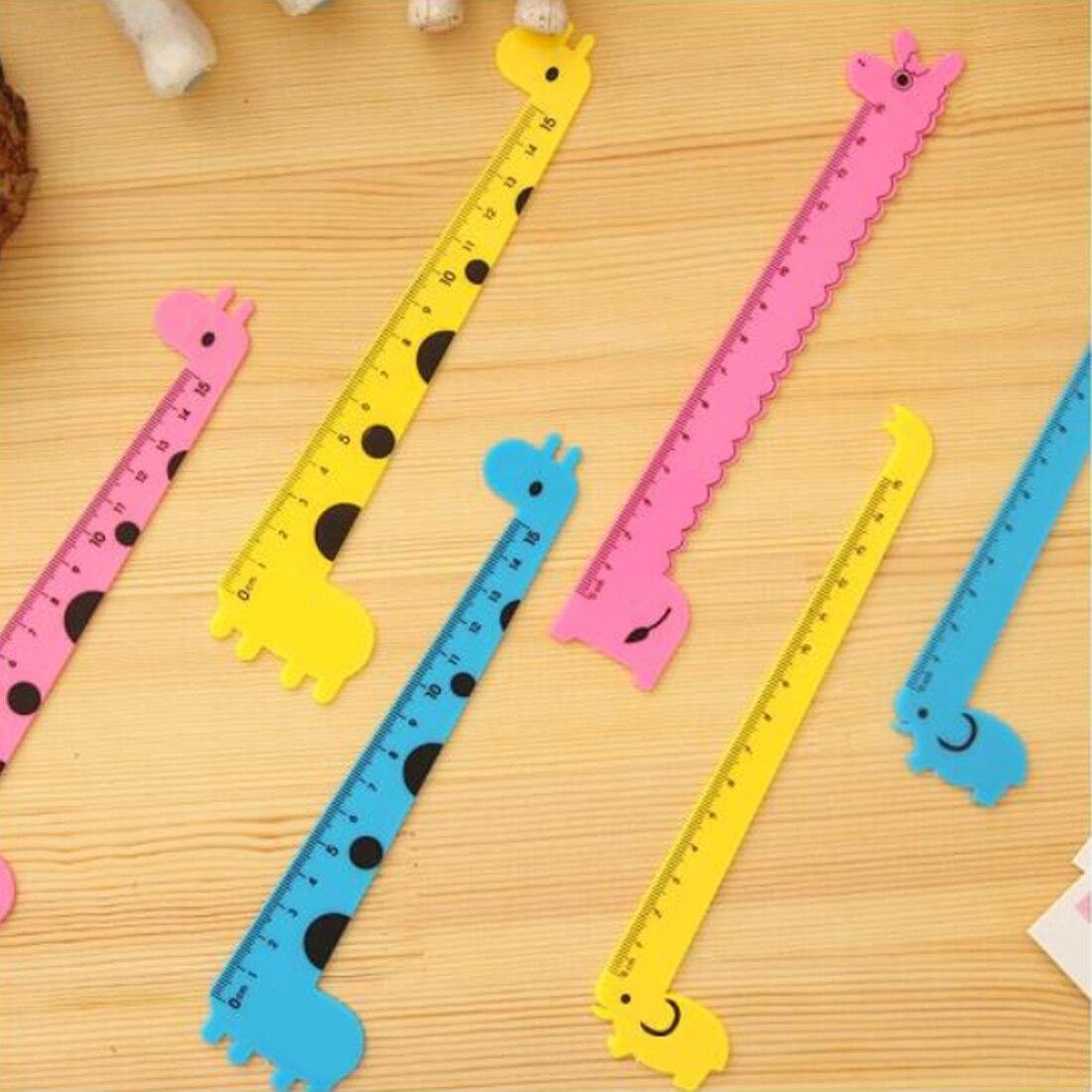 FangNymph Cute Cartoon Giraffe Pattern Student Ruler Kids Drafting Stencil Rulers School Office Stationery Color Random