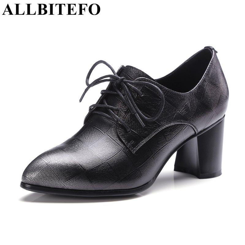 ALLBITEFO new spring genuine leather pointed toe mixed colors women pumps fashion brand high quality party shoes sapatos femini allbitefo fashion brand genuine leather thick heel women pumps new spring pointed toe high heels ladies shoes sapatos femininos