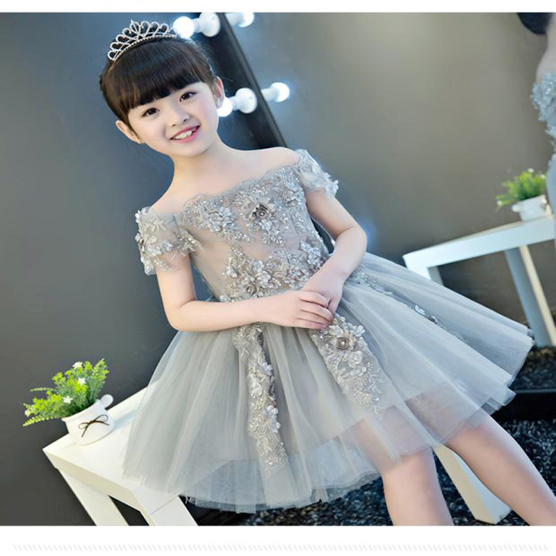 2108 Off the Shoulder Flower Girl Dresses Appliques Knee Length Pageant Formal Dress Party Birthday Ball Gown Princess Dress A9