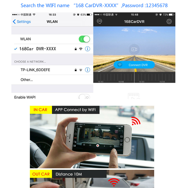 2018 Auto Front Dash Cam DVR Digital Registrar Cam Corder Auto Mini WiFi Dash Board Car DVR Camera HD 720P Video Recorder 5