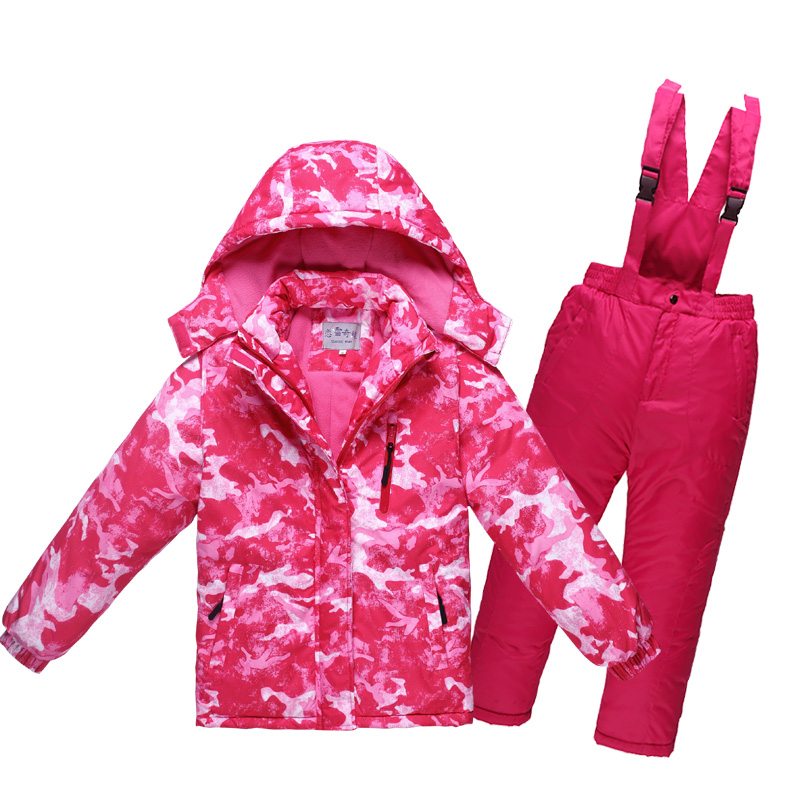 Mioigee 2018 New Boys Girls Ski Suits Waterproof Windproof Snow Pants+jacket Set of Winter Ski Sports Suit for Girls Clothes цена