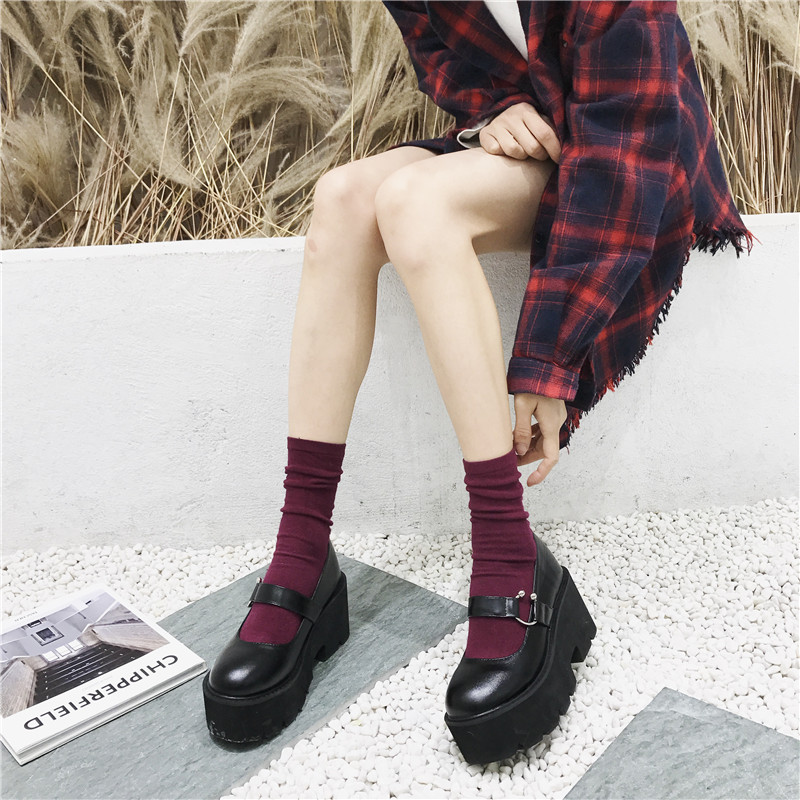 Japanese Lolita Shoes Round Head Waterproof Platform Black College Women Shoes