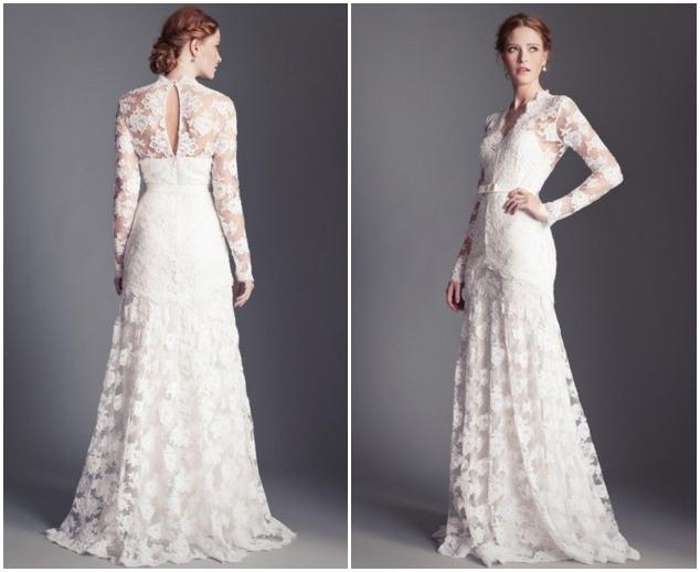 White Lace Wedding Dresses With Full Sleeves Custom Made