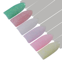 6Pcs Candy Colors 1g Holographic Sugar Nail Glitter Powder Colorful Sandy Summer Nail Art Pigment Decoration