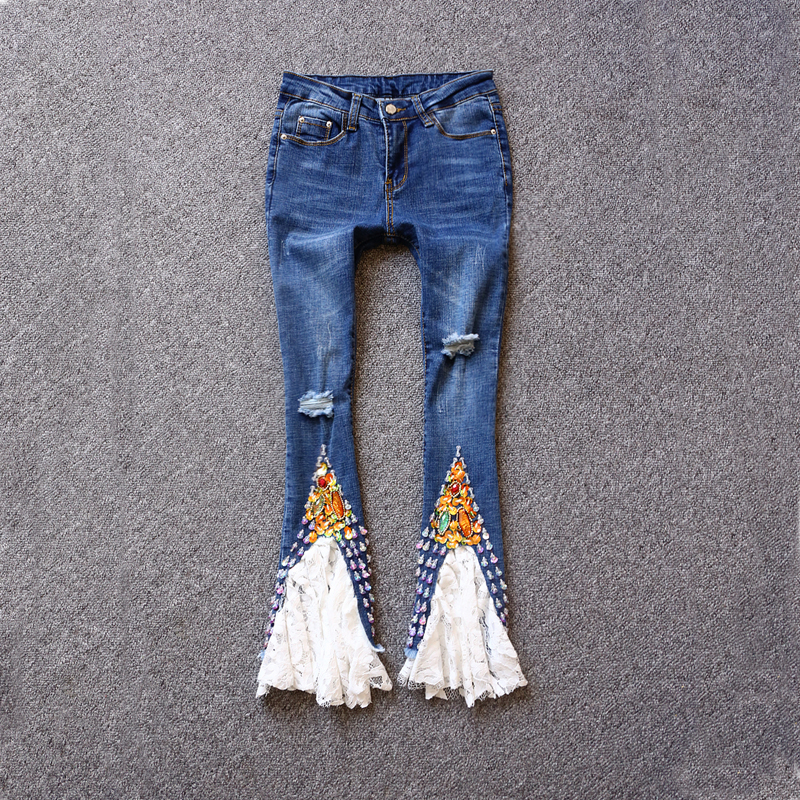 European New Jeans 2017 Summer 3D Sequined Embroidered Flares White Lace Pretty Slim Zipper Hole Women Beading Flare Pant