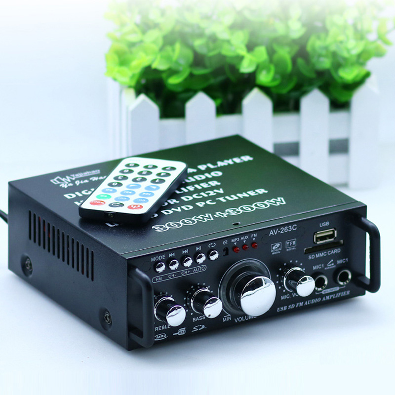DC12 / AC 220V Mini 2Channel Power Bluetooth Amplifier SD Card Player FM Electronic Hifi Stereo Audio Amplifiers