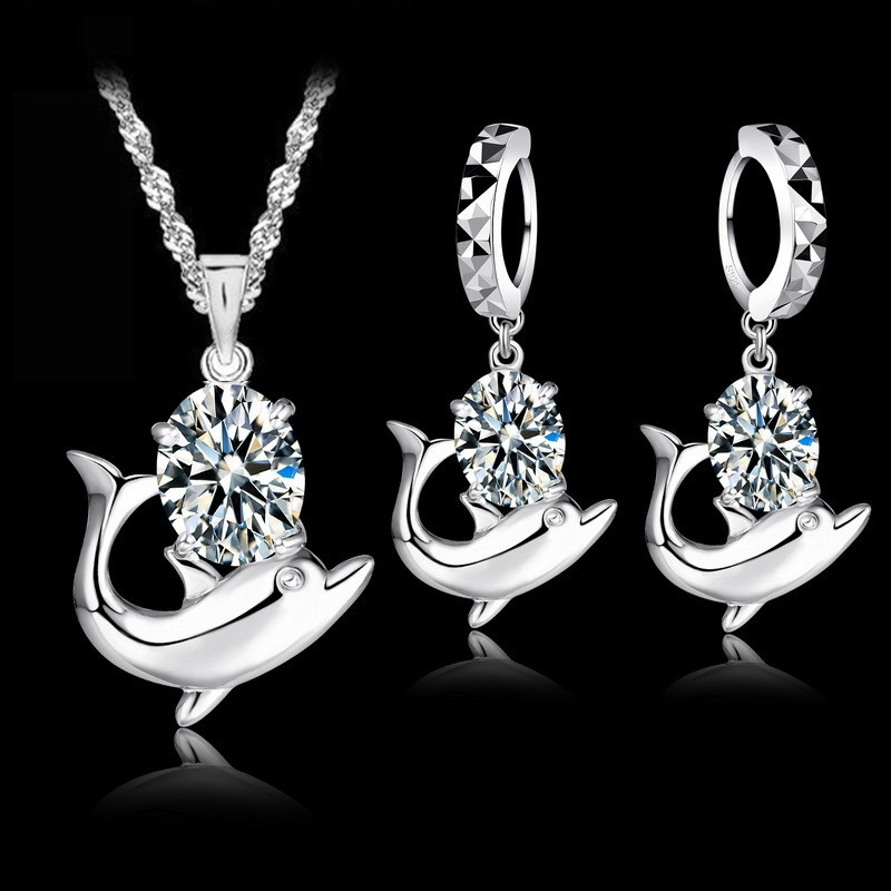 Patico Fashion Austrian Crystal Jewelry Set 925 Sterling Silver Sweet Dolphin Pendant Necklace Loop Earrings Sets For Women
