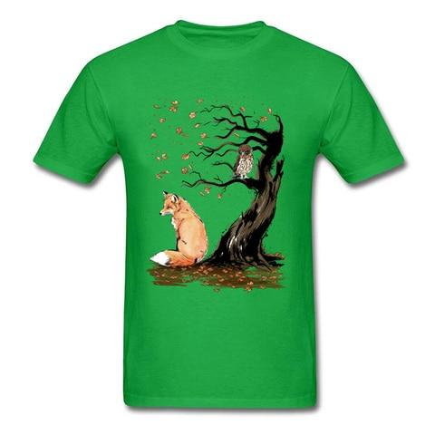 Winds Of Autumn Tee Shirt Art Design T-shirt Men Tshirts Owl & Fox Print Tops Tees Birthday Gift Clothes Custom Cotton Sweaters Lahore
