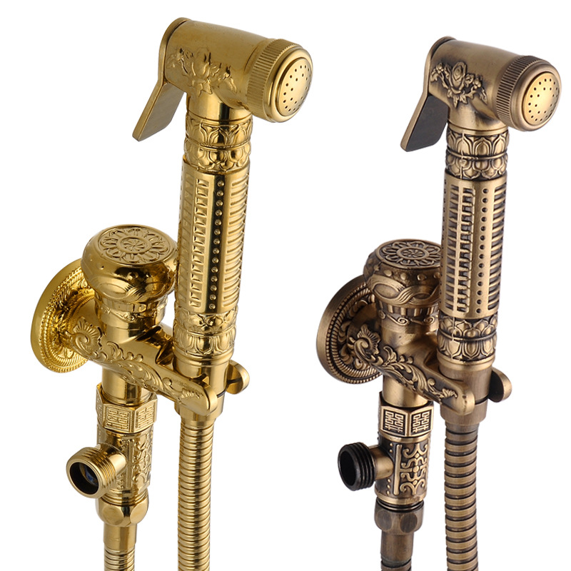Antique Brass Handheld Bidet Spray Shower Set Wall Mounted Carved Bathroom Shower Toilet Washing Machine With Holder Hose free shipping hot hotel wall mounted rectangle antique brass black bronze toilet paper holder tissue box bathroom kitchen zr2328