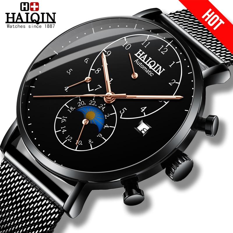 New HAIQIN Mens watches top brand Mechanical Men Watch sport Watch men Tourbillon stainless Waterproof Automatic