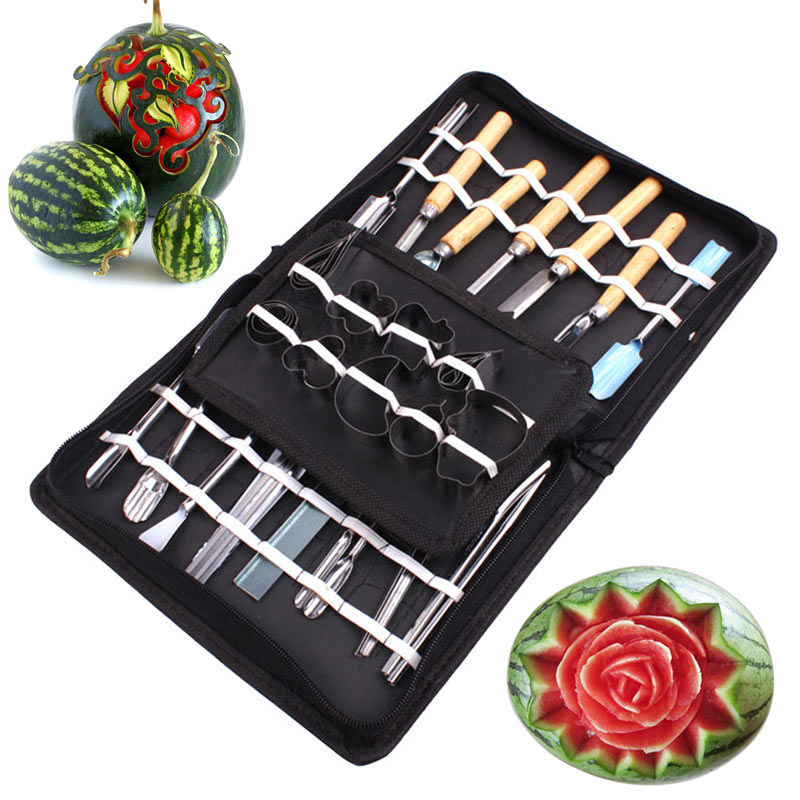 46Pcs/Set Stainless Steel Vegetable Fruit Carving Tool Watermelon Cutting Slicing DIY Assorted Cold Dishes Tools 2018ing