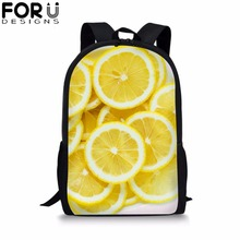 FORUDESIGNS Customize Image Fruit Print School Bag for Girls Boys Black Packbag Kids Children Bookbag Student Mochila Rucksack