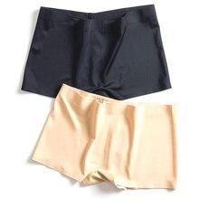 Panties Seamless Shorts Culotte Summer Underwear Black Ice Silk White Sexy Women Mid-Rise