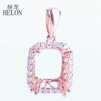 Helon Обручение алмазы полу крепление 8x6 мм Изумрудный кулон Твердые 10 К розовое золото Книги по искусству деко Для женщин Ювелирные украшения