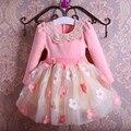 2017 nuevo algodón muchachas de la princesa del vestido de los vestidos de partido de manga larga del otoño del resorte niños ropa bowknot collar de loto