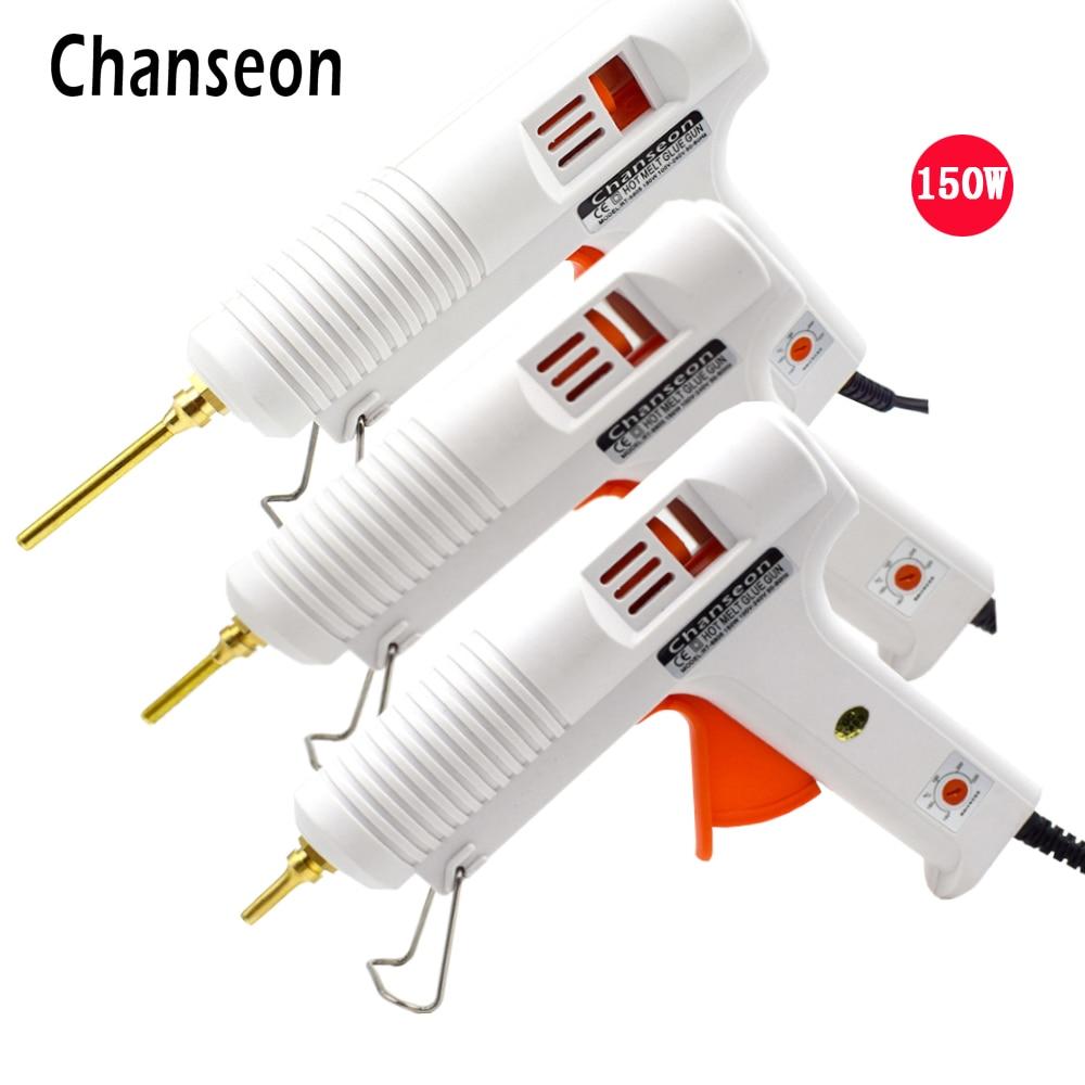 Chanseon 150W EU/US Hot Melt Glue Gun Smart Adjustable Temperature Copper Nozzle Heater Heating 1PC 11mm Heat Glue Gun Stick