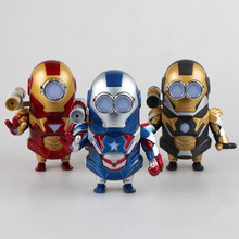 Anime Minions Cos Captain America Iron Man with Light and Sound PVC Action Figure Collectible Model Toy 13cm Retail Box WU055