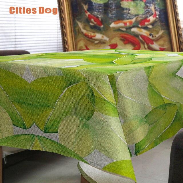 Скатерть Свежие зеленые листья тропических растений покровно rectangulaire Украсить свадебный скатерть на столе круглый стол ткань