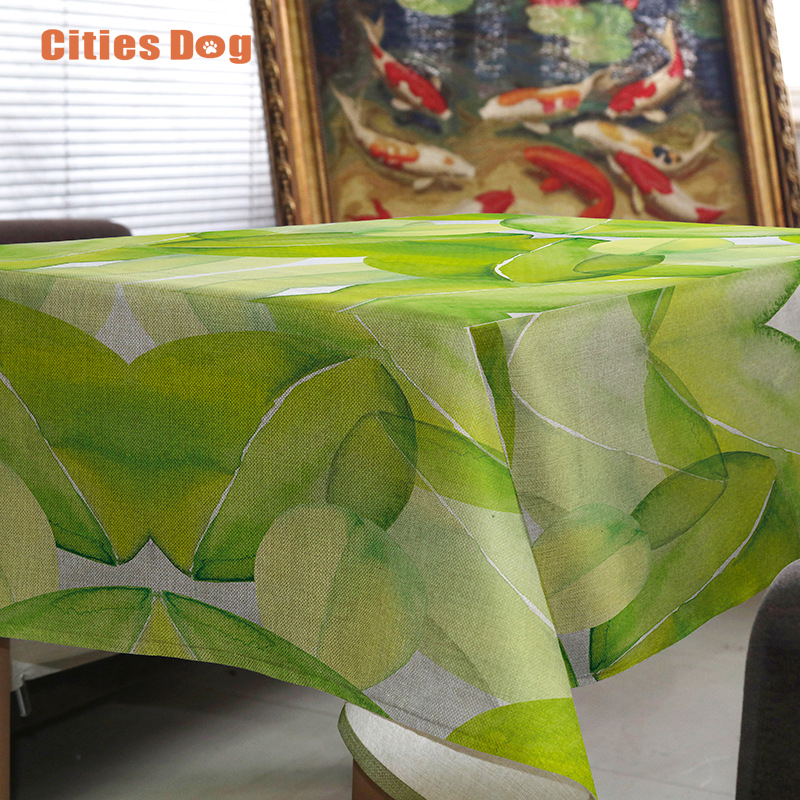 Tablecloth Fresh Green Leaves Tropical Plants Nappe Rectangulaire Decorate  Wedding Tablecloth On The Table Round Table Cloth