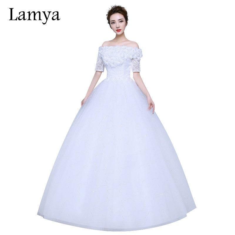 LAMYA pełne aplikacje z krótkim koronkowym rękawem Tanie plus size suknia ślubna 2018 Vinatge Bride suknia niestandardowym Dodać Vestidos De Noiva