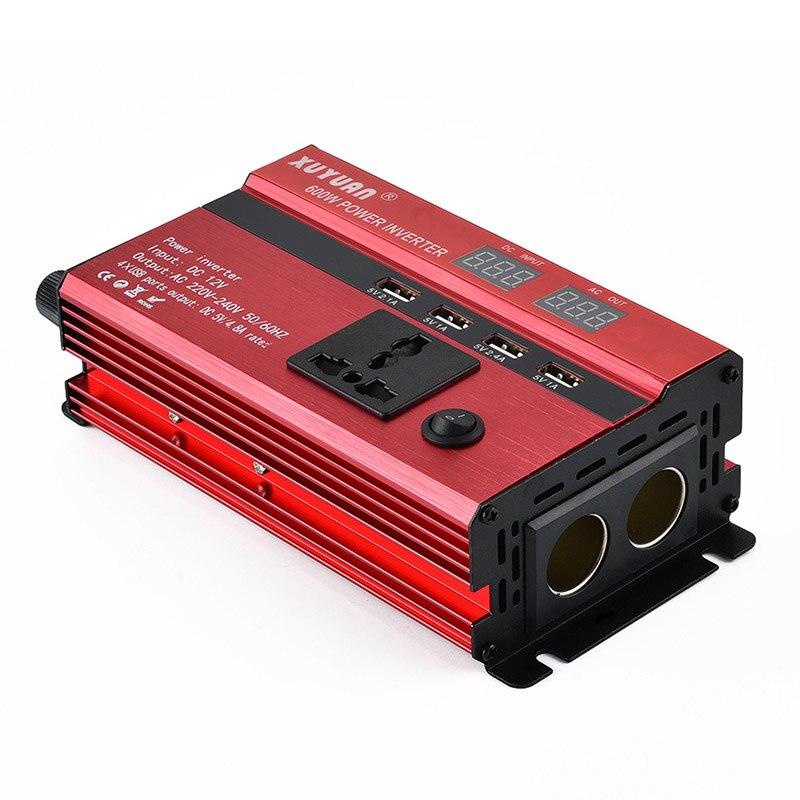 Car Inverter LED Display Electric Cigarette Holder Conversion 12v to 110v/600w Inverter TD326
