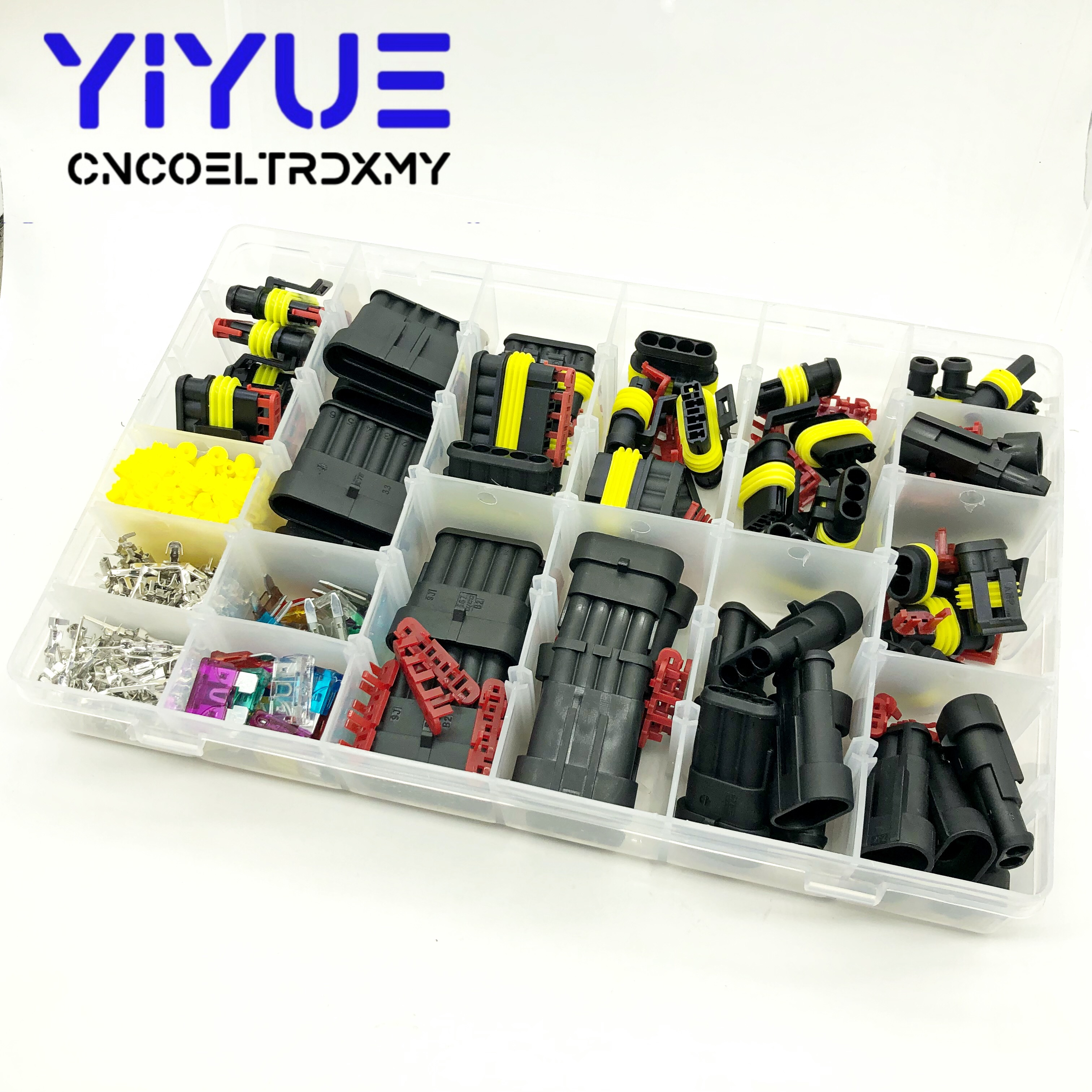 472 Pcs Superseal AMP Tyco Waterproof 12V Electrical Wire Connector Sets Kits with Crimp Terminal and Car Fuse small medium size