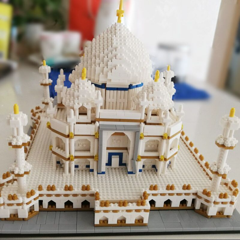 Diamond NO Compatible India Taj Mahal Word Great Architecture series model buildings micro blocks toys construction