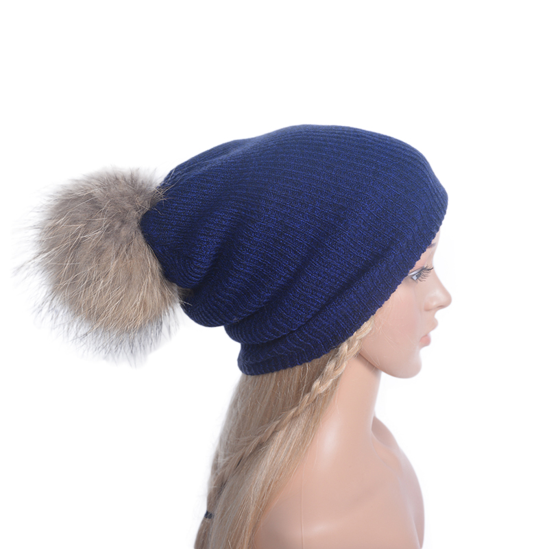 Autumn Winter Knitting Hat with Big Fur Pompom Beanies Hats for Women Slouch Hats Girl's Skullies Casual Bonnet Cap skullies beanies winter woman fashion knitting hats with pompom beanies girls warm letter b cap
