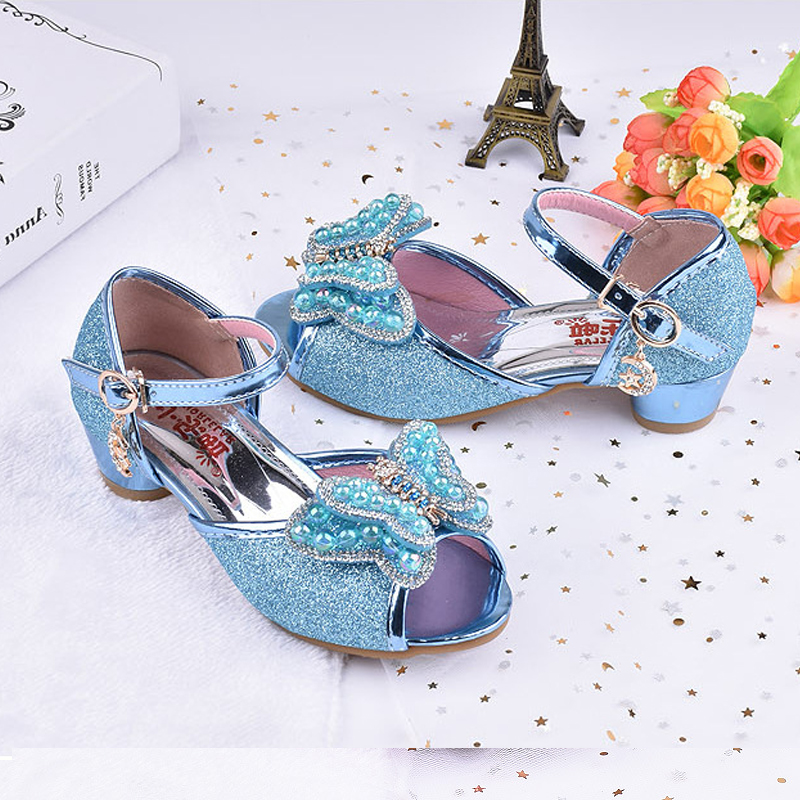 Childrens Sandals High Heeled Kids Summer Princess Shoes Bowtie Bling Bling Party Dress Shoes Size 26-37 Students Party Sandals