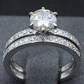 Conjunto anel de Casamento Moissanite 14 K Sólida Ouro Branco Redonda 1CT Lab Grown Anel de Noivado de Diamante Clássico Nupcial Do Casamento Banda Fina jóias