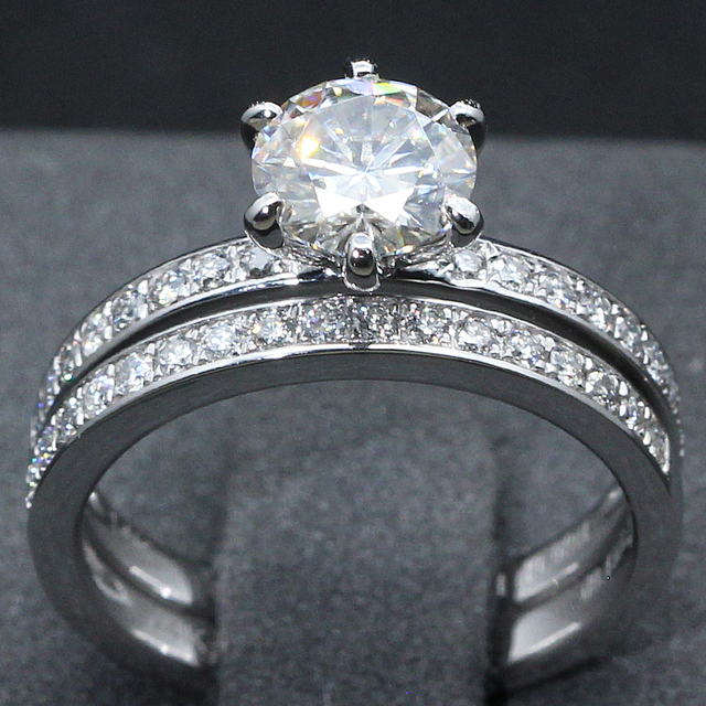 14K White Gold 1CT Round Lab Grown Diamond Engagement Wedding Ring