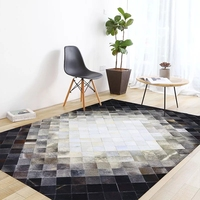 American style luxury cowhide seamed patchwork rug, natural cow skin fur carpet black and gray decoration office carpet
