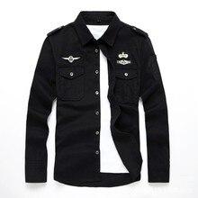 En kaliteli moda erkek uzun kollu pamuk gömlekler askeri spor kargo dış giyim elbise gömlek M 6XL AYG75