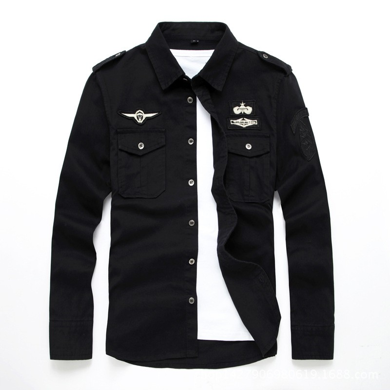 top quality fashion men long sleeve cotton shirts military fitness cargo outwear