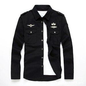 Image 1 - top quality fashion men long sleeve cotton shirts military fitness cargo outwear dress shirts M 6XL AYG75