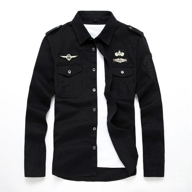 top quality fashion men long sleeve cotton shirts military fitness cargo outwear dress shirts M 6XL AYG75