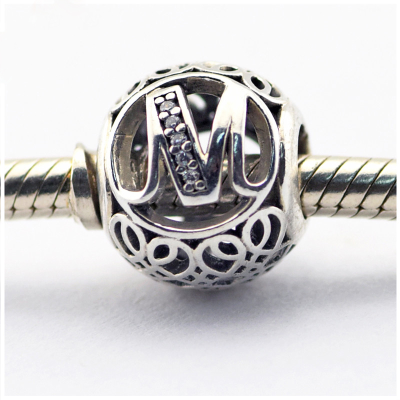 2016 spring new beads Fits for Pandora charm bracelet Clear Cz letter M charm 925 sterling silver DIY Making fine jewelry
